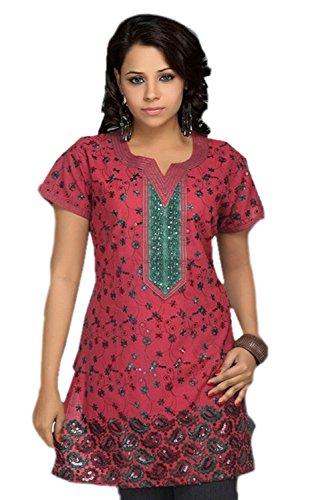 Jayayamala Mesdames soie coton multicolore fleur brodé top blouse mini robe