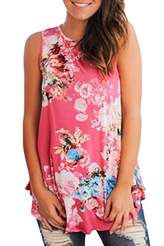 roswear Women's Summer Casual Floral Print High Neck Tank Tops Hot Pink Large