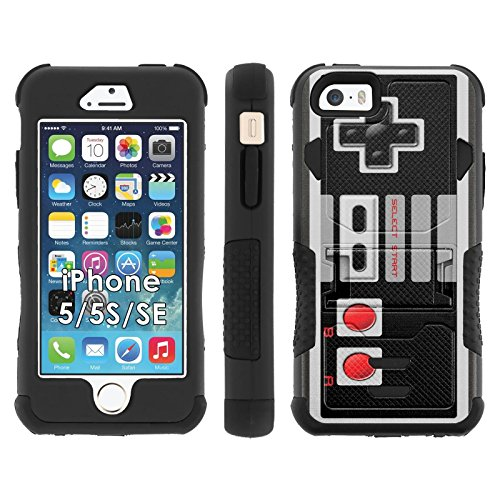 iPhone SE | 5 | 5S Phone Cover, NES Video Game Controller- Flak Jacket Dual Armor with Kick-stand for [iPhone SE | 5 | 5S] with [Kickstand and Holster]