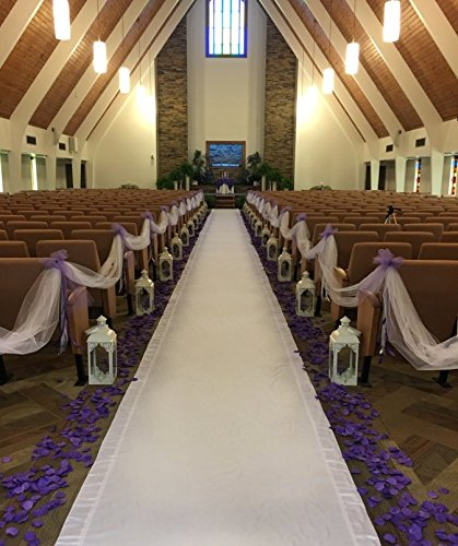 White Gabardine Aisle Runner With White Satin Accent 50 Feet Long with Pull cord