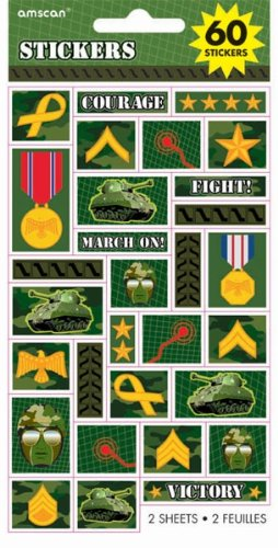 Military Camouflage Stickers by Amscan (60 Stickers, 2 Sheets)