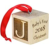"Baby's First Christmas Ornament, Personalized Christmas Wooden Block, Laser Engraved Wooden Baby Block (2"")"