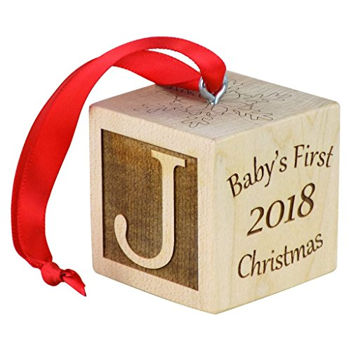 (Baby's First Christmas Ornament, Personalized Christmas Wooden Block, Laser Engraved Wooden Baby Block)