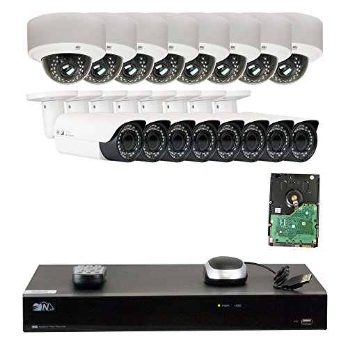 Cheap GW Security 16 Channel H.265 4K NVR 5-Megapixel (2592 x 1520) 4X Optical Zoom Network Plug & Play Security System, 16pcs 5MP 1920p 2.8-12mm Motorized Zoom POE Weatherproof Bullet & Dome IP Cameras