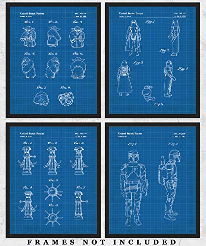 Original Star Wars Action Figures Blueprint Art Prints - Set of 4 Unframed 8 x 10 Poster Photos. Unique Wall Art for Home, Room & Office Decor. Great Gifts for Men, Women Boys, Girls & Movies Fans
