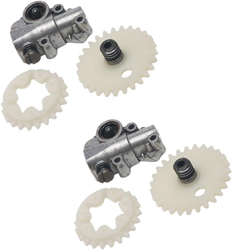 Non-brand Paquete De 2 Kit De La Bomba De Aceite Metálico Engrase del Engrasador Engranaje Helicoidal Engranaje De La Rueda para La Motosierra STIHL 038 MS380 M