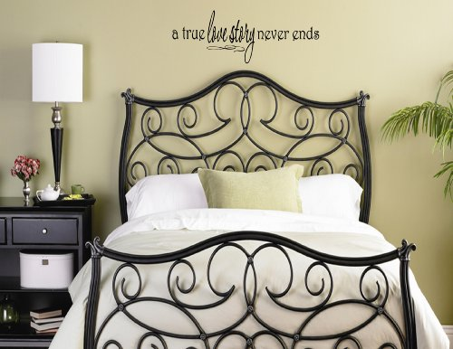 A TRUE LOVE STORY NEVER ENDS 0009 Vinyl wall quotes and sayings home art decor let... -