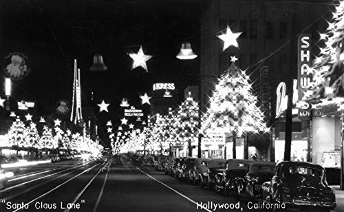 Hollywood, California - Santa Claus Lane Parade on Hollywood Blvd Photograph (16x24 SIGNED Print Master Giclee Print w/ Certificate of Authenticity - Wall Decor Travel - Map Hollywood Blvd Of