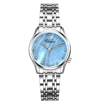 Hswt Reloj De Mujer La Moda Acero Inoxidable Correa De Malla Rhinestone Impermeable Nácar Accesorios De Reloj Mujer Ultra Delgado Reloj De Moda,Blue: ...