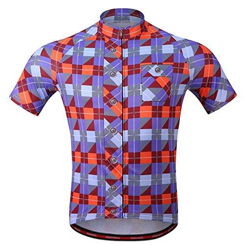 RaiFu サイクリングシャツ トップス チェック柄 パターン 半袖 アウトドア アクティビティ用 通気性 自転車用 ブルー XXL