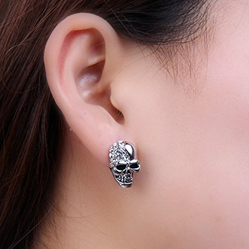 Pakdeevong shop New Stainless Steel Silver Mens CZ Cheekbone Skull Ear Stud Earrings Gothic Punk Style Cool Top Fashion Skeleton Jewelry(Silver)