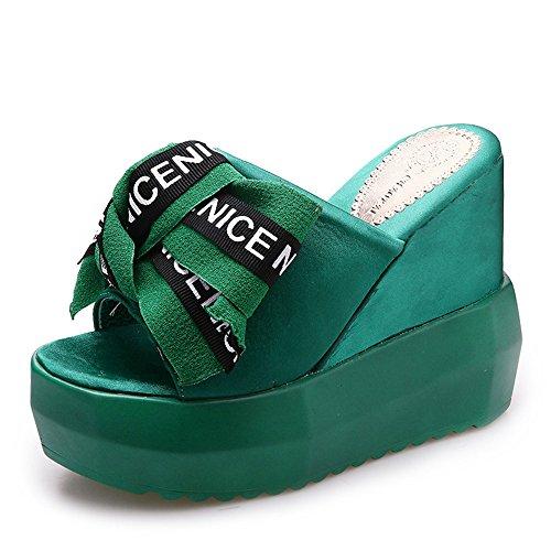 (Platform Flatform Slide Slipper Sandal Mule Slinky Elastic Single Band (Green37/6.5 B(M) US Women))
