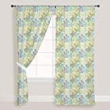 AZ Tulip Flowers Door & Window Curtain Satin 4feet x 11feet; SET OF 2 PCS