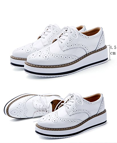 Mujer Zapatos de Cordones Vestir Piel Brogue Zapatillas Talón Plataforma 4.5 CM Negro Blanco Blanco NOTA: los zapatos pueden ser un poco estrechos, tenía mejor para elegir un tamaño más grande.