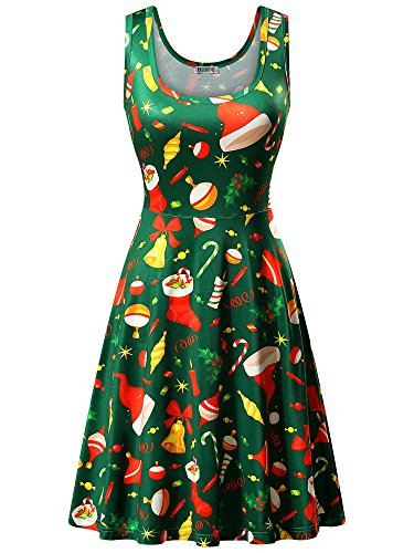 HUHOT Christmas Dresses Women Xmas Gift Element Green Trees Print Flared Dress(Large, Green Bell-2)]()