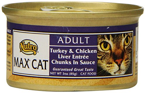 Liver Chunks (NUTRO MAX CAT Adult Turkey and Chicken Liver Entree Chunks in Sauce Canned Cat Food (Pack of 24))