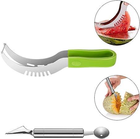 2x Ustensiles Outils Cuisine Coupe Éplucheur Melon Pastèque Fruit Couteau Boule