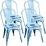 Merax Tolix Style Bistro A Dining Room Chair, Stacking Chairs / Set of 4 / Indoor and Outdoor Use (Antique Blue)