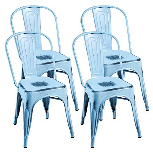 Merax PP035984CAA PP035984CAA-2 Indoor-Outdoor Use Tolix Style Distressed Metal Bistro A Dining Stackable Highback Chic Cafe Side Chair, Set of 4 (Antique Blue) For Sale