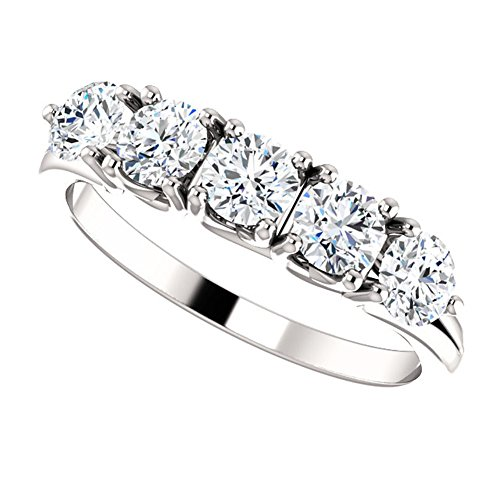 1.00 ct Ladies Round Cut Diamond Anniversary Ring in 14 kt White Gold