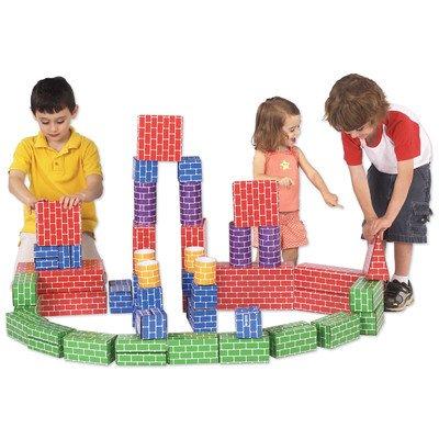Cardboard Building Blocks - Set of 48 Jumbo Sized Stacking Cardboard Bricks
