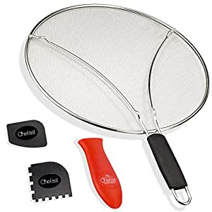 """Chefast Splatter Screen Set - Premium 13"""" Stainless Steel Grease Splatter Guard, Cooking and Grill Pan Scrapers & Silicone Hot Handle Holder - Oil Splash Shield for Pots, Skillets and Frying Pans"""