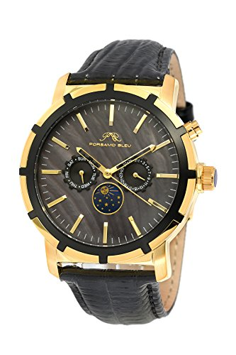 Porsamo Bleu Luxury NYC Moon Genuine Leather Gold Tone & Black Men's Watch with Sun & Moon Display 057BNYL