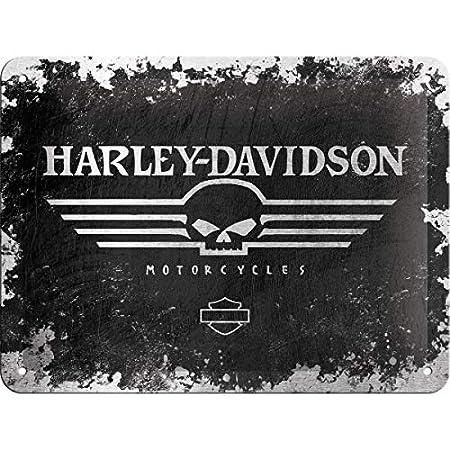 Nostalgic-Art Harley-Davidson Skull Logo Cartel de Chapa 15x20 cm