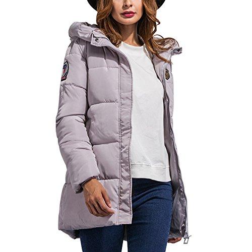 Bestfort Warm Mantel Damen Wolle Jacke Wintermantel mit Kapuze f¨¹r Outdoor Winter Grau ANc4HQpXe