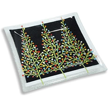 Peggy Karr Handcrafted Art Glass Tannenbaum Plate Square 10 Inch