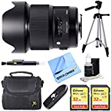 Sigma 20mm F1.4 Art DG HSM Wide Angle Lens Full-frame DSLR Camera Bundle includes 20mm Lens, 32GB SDHC Memory Card x 2, Reader, Tripod, Bag, Cleaning Kit, Lens Pen and Beach Camera Cloth (Nikon)