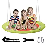 CO-Z Saucer Tree Swing Large 40 Inches Round Saucer Swing Set for Tree with Steel Frame and 2 Adjustable Hanging Straps (Orange)