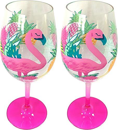 (Tropix 2-pc. Pink Pineapple Flamingo Wine Goblet Set One Size Pink/yellow/orange/green )