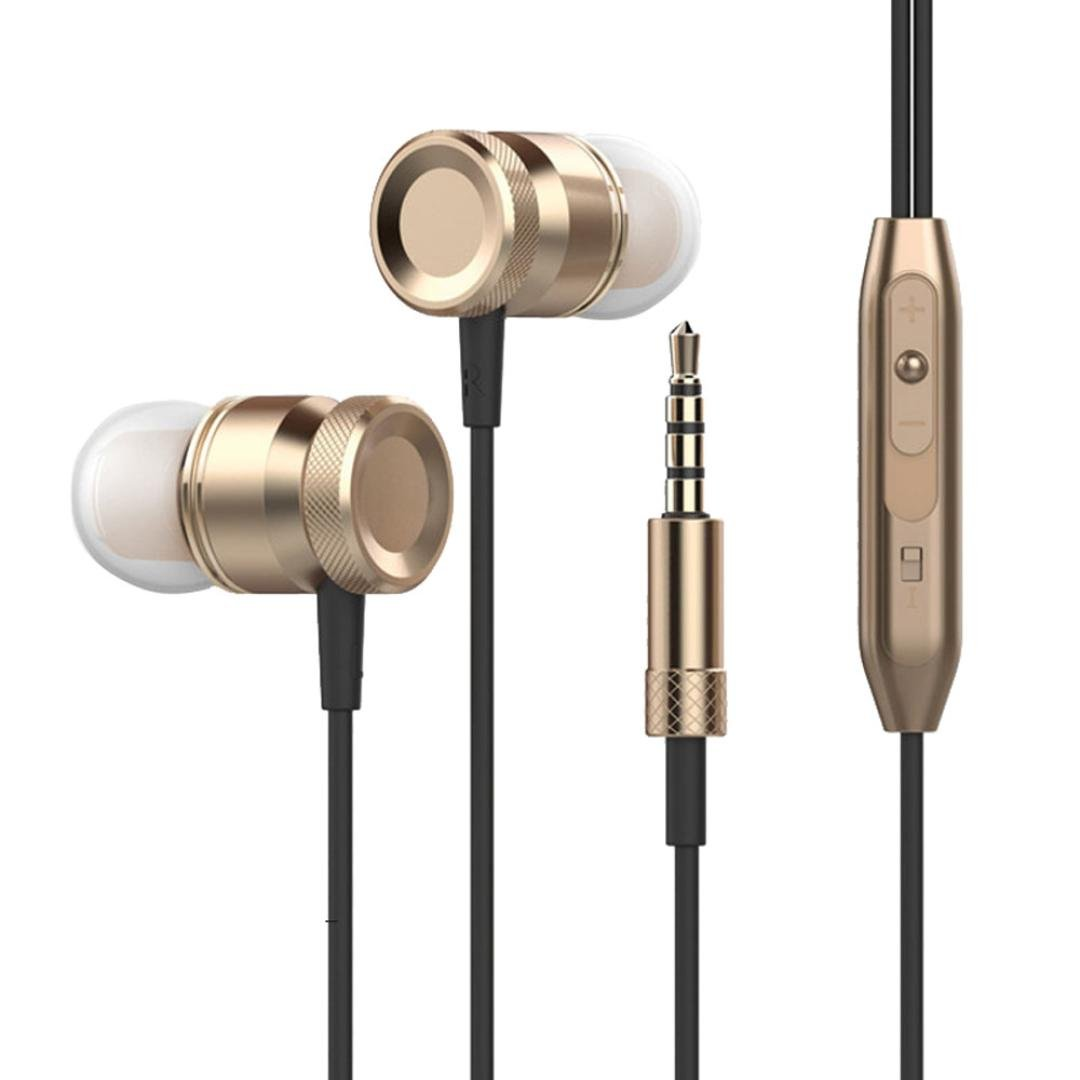 Headset,Sunfei 3.5mm With Microphone Bass Stereo In-Ear Earphones Headphones Headset Earbuds (❤️Gold❤️)