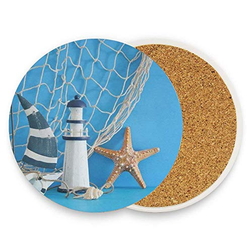 Nautical Theme Sailboat Lighthouse Starfish Seashells Fishnet Over Blue Wooden Table White Absorbent Coaster For Drinks Ceramic Thirsty Stone With Cork Back Fit Big Cup, No Holder Parck 1