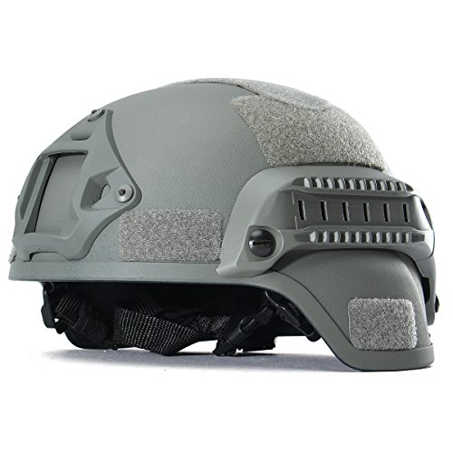 Tactical Hunting Combat CS Helmet with Side Rail NVG Mount (Gray)