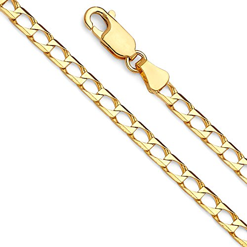 Gold Square Curb Chain (Wellingsale 14k Yellow Gold SOLID 3mm Polished Square Cuban Concaved Curb Chain Necklace - 20
