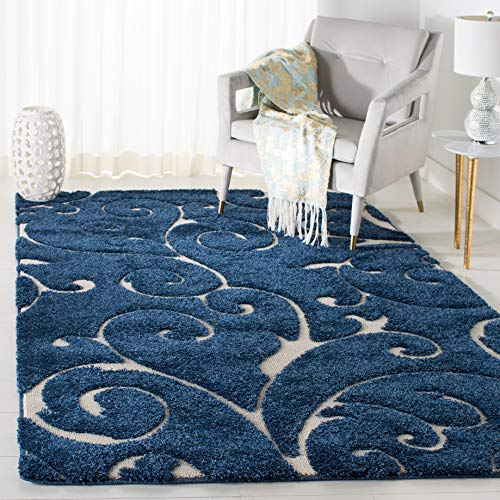 Safavieh Florida Shag Collection Scrolling Vine Dark Blue and Cream Graceful Swirl Area Rug (6' x 9')