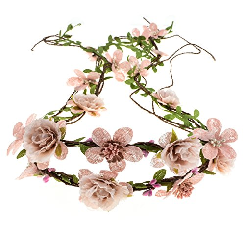 Floral Fall Adjustable Bridal Flower Garland Headband Flower Crown Hair Wreath Halo F-83 (Style 2 Blush)]()