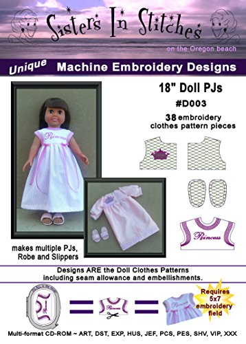 18'' Doll Play PJs - In the Hoop - Machine Embroidery Designs by Sisters In Stitches Embroidery Designs