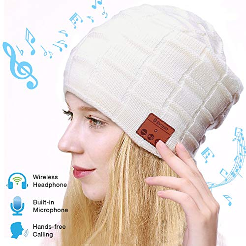 Bluetooth Beanie Hat, Smart Wireless Music Beanie for Men and Women, Cashmere Warm Ski Music Hat Knit Gift Cap with Earphones for Winter Cycling Running Skating Hiking (Ivory)