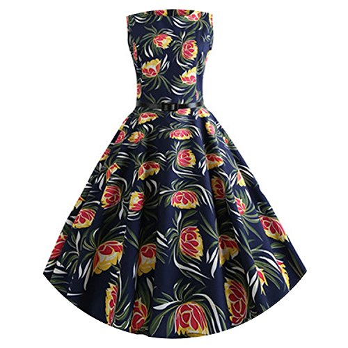Women's 50S Retro Hepburn Style Sleeveless Floral Print Large Swing Dresses with Belt,Navy Blue,S ()