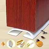 Under Door Draft Blocker Draught Excluder Self-Adhesive Rubber Door Bottom Seal Strip Under Door Sweep Weather Stripping Door Gap Stopper Soundproofing Noise Insulation 39'' Long (White)