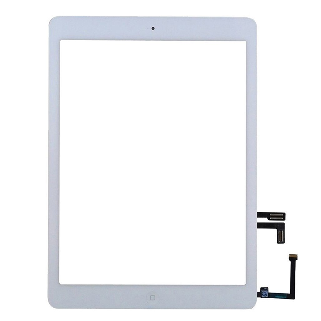 Front Touch Digitizer Complete Assembly Replacement With Home Button + Camera Holder + Adhesive pre-installed For Apple iPad 5/Air 5th Model A1474 A1475 A1476(White)