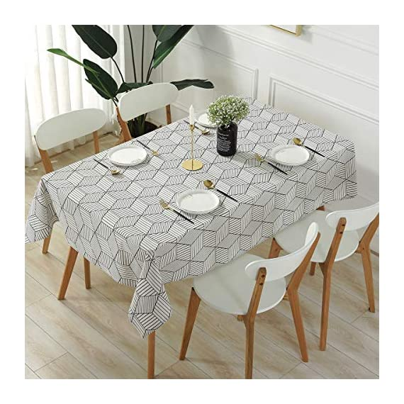 "SESTYLE Rectangle Tablecloth Geometric Style Cotton Linen Table Cloth Dust-Proof Table Cover for Kitchen Dinning Tabletop Decoration (Rectangle/Oblong, 52"" x 90"" (6-8 Seats), White) - Premium Quality Tablecloth: Manufactured from super, hard wearing cotton linen fabric, won't easily fray after long term use; an inherent quality of natural, handcrafted linen pieces, which only add to their beauty. Versatile Table Protector: This rectangular tablecloth is reminiscent of casual dining and perfect for everyday meals with the family, parties, birthdays or special holiday gatherings, indoor and outdoor use, weddings and more. Decoration Your Home: Add flowers, candles or a seasonal centerpiece to tables cape. and keep dust off and protect your table,tablecloth and furniture tops against scratches, scuffs, stains while still show the beauty of your table and furniture tops. - tablecloths, kitchen-dining-room-table-linens, kitchen-dining-room - 51Wr8UfQwrL. SS570  -"