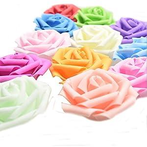Ewandastore 100pcs 2.4 Inch Artificial Foam Rose Flowers Fake Flowers Heads for Wedding Party Bride Holding Flowers Wedding Favor Box Home Decoration 9