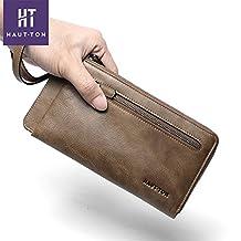 Men's Leather Bifold Long Money Clip Zippered Purse Wallet BlackSZB123