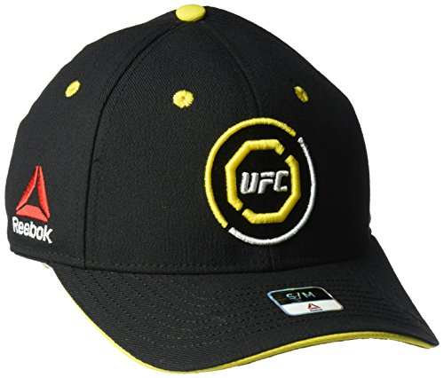 UFC Adult Unisex Curved Visor Flex Hat, Small/Medium, Black/Yellow (Embroidered Beanie Ufc)
