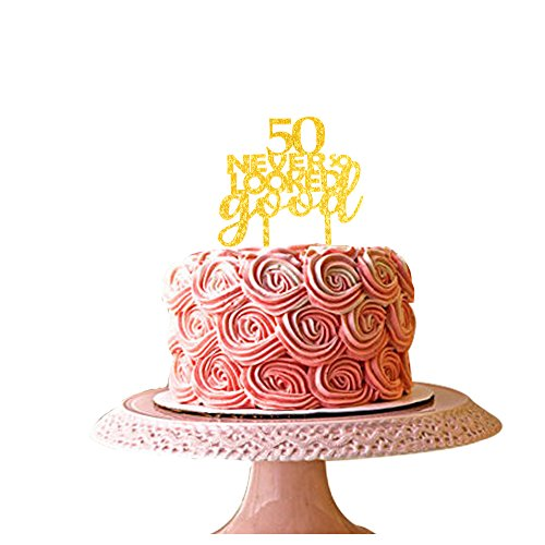 Absolutely Fabulous at 50 Plain or Glitter Birthday CARD Cake Topper Fifty