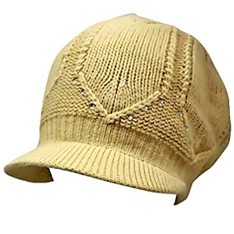 Beige Slouchy Crochet Angora Knit Newsboy Cap